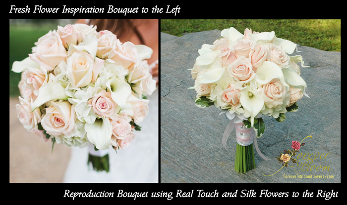 Forever in bloom specializes in custom real touch silk flowers for put them in a bouquet and not always can i find the exact flower in the exact color but switching up a few flowers can pretty much give the same look mightylinksfo